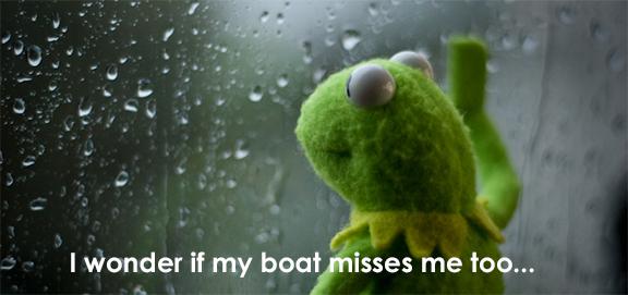 Kermit-I wonder if my boat misses me too