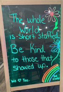 The whole world is short staffed. Be kind to those that showed up.